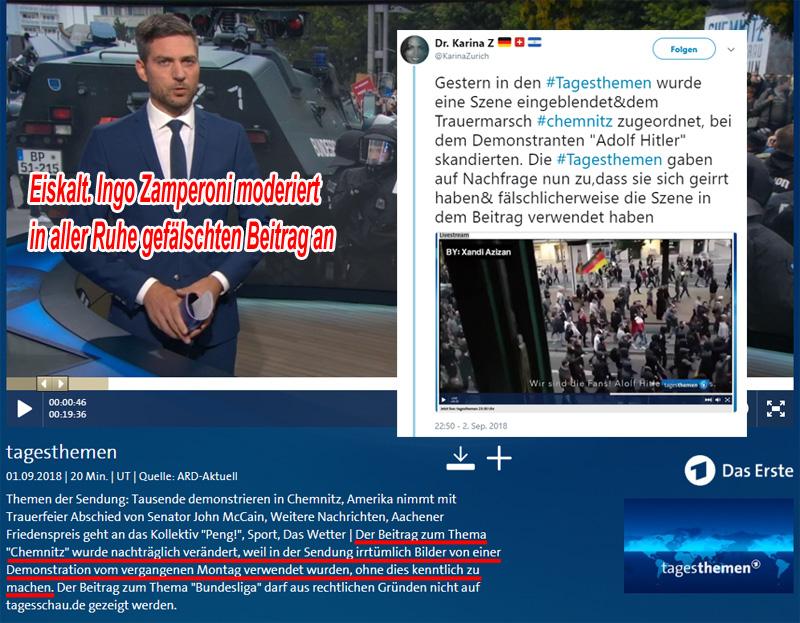 >> Staatsfunk  > ARD: Tagesthemen stylen Schweigemarsch von Chemnitz auf rechtsradikal um _  Durch Einschneiden von Aufnahmen einer anderen Demonstration in die Bilder vom #Trauerzug am 1.9. in #Chemnitz #c0109 haben die Tagesthemen versucht, der Veranstaltung einen rechtsradikalen Anstrich zu verpassen.  Wieder einmal auf frischer Tat ertappt. Und schau dir an, mit welch frechdreister Unbekümmertheit sie den Bürgern ihre Manipulationen servieren. Man möchte schon fast sagen: einfach genial.  #ard  #tagesthemen  #verfälschung  #volksverarschung  #staatsfunk  #gez #meinungsdiktatur #Date:09.2018#
