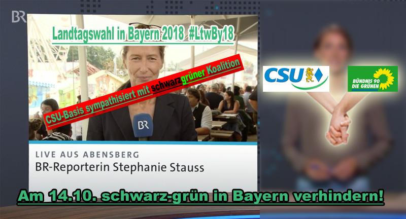>> Bayern > Landtagswahl: Bericht über den politischen Stammtisch  von der Gillamoos in Abensberg | CSU-Basis mit Präferenz für schwarz-grün _  Da kam sogar die Reporterin vom Bayerischen Rundfunk (BR) ins Stolpern, als sie erzählen musste, dass es in der #CSU-Basis starke Sympathien für eine schwarzgrüne Koalition nach der #Landtagswahl in #Bayern gibt.  ??Alles, alles –  nur nicht das. ??  Wer CSU wählt, wählt auch die #Grünen und aufgrund der Koalitionverpflichtungen in Berlin auch die #SPD.  Am 14.10. auf jeden Fall zur Wahl gehen und schwarzgrün in Bayern verhindern!!  #gillamoos  #abensberg  #niederbayern  #schwarzgrün   #LtwBy18     http://bit.ly/2PE67se #Date:09.2018#