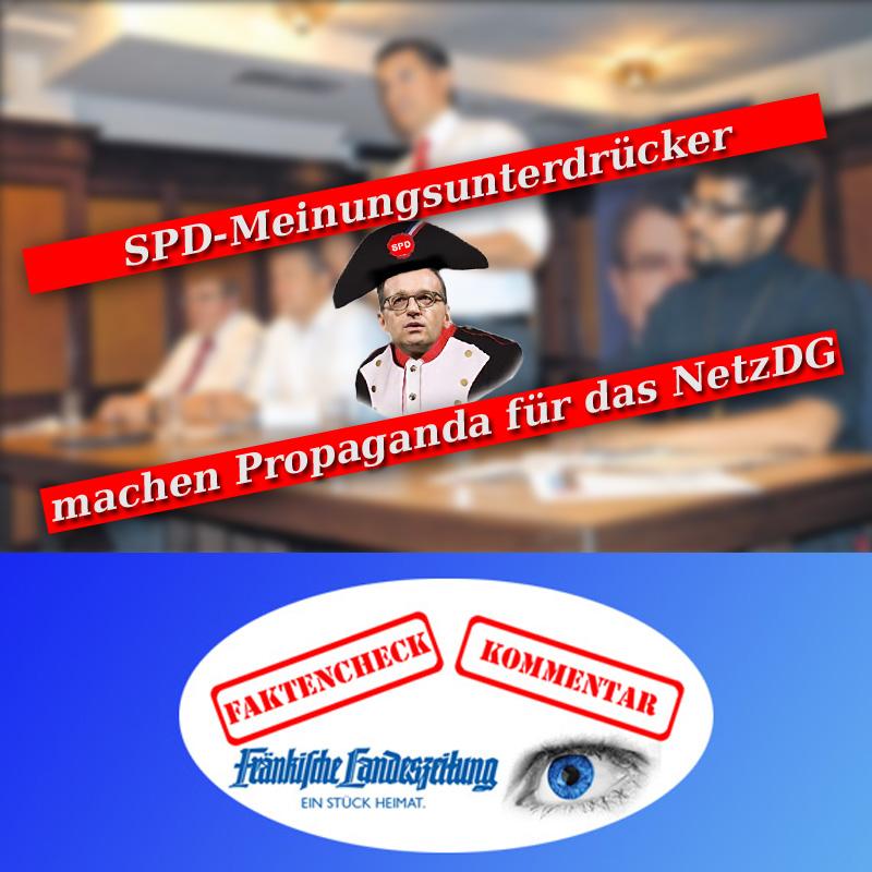 """>> LK Nea-Bw > Neustadt: #SPD-Veranstaltung """"Hetze im Netz"""" Unter dem Titel """"Rezepte gegen Hass"""" berichtete die Fränkische Landeszeitung (FLZ) am 7.9.18 über die obige SPD-Veranstaltung. Frechdreist inszenieren sich die #Sozis als Hüter der #Meinungsfreiheit und verweisen auf das vom damaligen SPD-#Bundesjustizminister Heiko """"Taschennapoleon"""" Maas verbrochene #NetzDG(#Netzwerkdurchsetzungsgesetz). Das NetzDG dient einzig dem politischen Zweck, die Meinungsfreiheit #Andersdenkender in den Sozialen Medien einzuschränken. Damit soll erreicht werden, dass als vorrangige #Informationsquelle der #Bürger die #Mainstream- #Medien (ARD, ZDF, und der sogenannte [#grünlinke] #Qualitätsjournalismus) wieder etabliert werden. Das NetzDG ist ein #antidemokratisches Machwerk, das es Privatfirmen erlaubt, die Meinungsfreiheit fernab jeglicher strafrechtlicher Relevanz zu beschneiden. Und die #NadelstreifenKommunisten von der #deutschlandfeindlichen SPD natürlich fett mittendrin. Um das Ganz zu kaschieren, spricht die sachverständige, antifa-affine SPD vom Schutz vor Mobbing und Hetze. Als Paradesbeispiel führen die roten #Verführer den Hype um den """"Drachenlord"""" von #Altschauerberg an. Diesen #Blödsinn in Zusammenhang mit dem #Drachenlord, der maßgeblich von SPD- #Landtagskandidat Harry """"alerta-alerta-antifacista-ich-komme-aus-der-friedensbewegung-bin-immer-präsent-retter-der-kranken-und-unterdrückten"""" #Scheuenstuhl initiiert wurde, als Deckmäntelchen für die Beschneidung von #Grundrechten anzuführen ist eine #Volksverdummungersten Ranges. Der sogenannte Drachenlord ist ein durchgeknallter Kasper, der nicht der Rede wert ist. Auch der Schreiber dieser Zeile ist vom Drachenlord schon nach Altschauerberg eingeladen worden, um sich dort handgreiflich von dem Deppen zurechtweisen zu lassen. Wieso? Keine Ahnung. In einem Chat ohne jeden Bezug zu dem Honk war er plötzlich da und hat die Teilnehmer provoziert und beleidigt. Aber, ok. Genau das richtige Umfeld für die SPD. Weiter so. Aber ve"""