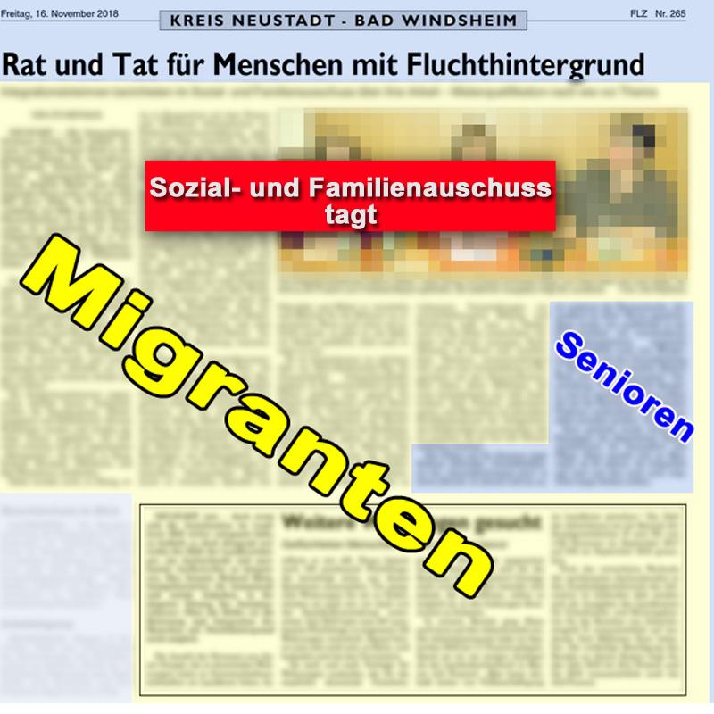 Bild zum Thema >> LK NEA-BW: Der Sozial- und Familienausschuss tagt Anhand der Berichterstattung in der Fränkischen Landeszeitung (FLZ) erkennt man leicht, was wirklich wichtig ist im Sozial- und Familienbereich des neuen #grenzenlosen #bunten #Merkeldeutschland. Was hat der Ausschuss eigentlich vor 2015 gemacht? Däumchen gedreht, oder was? #LkNeaBw #neustadt #windsheim #massenmigration