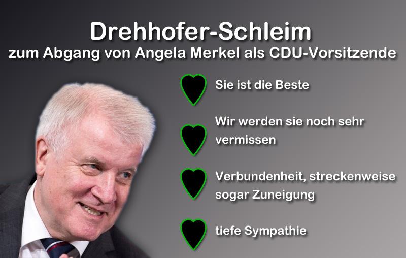Merkel-Abgang als CDU-Vorsitzende: Seehofer schleimt ohne Ende grenzenlos_ #Date:12.2018#