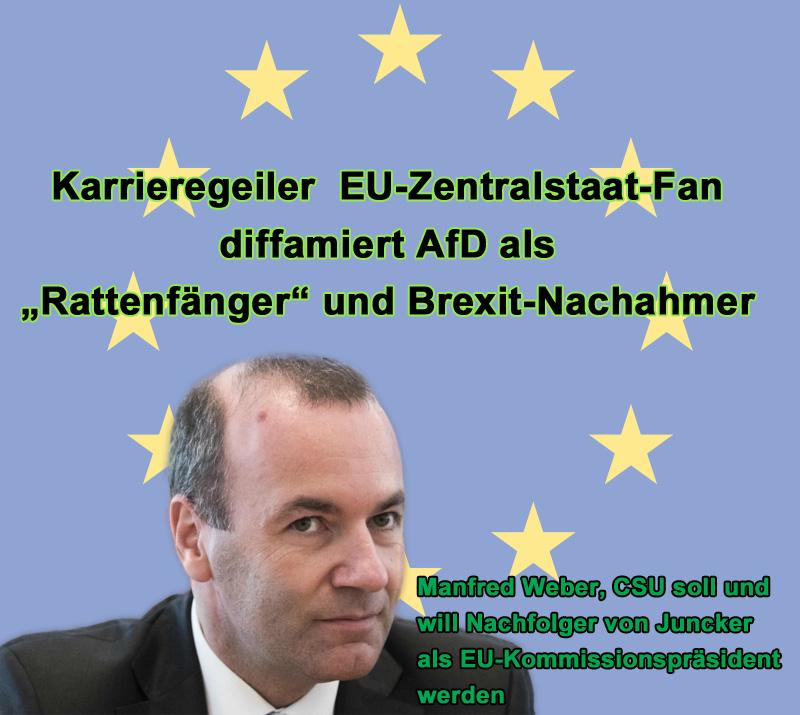 """>> CDU-Parteitag: Grußwort des karrieregeilen Zentraleuropa-Kandidaten für den EU-Kommissionspräsidenten _  Manfred #Weber, #CSU, und offensichtlich als Nachfolger von #Juncker als #Präsident der #EuKommission ausgekungelt, durfte auf dem #Parteitag der #CDU auch was sagen.  Weber, ein überzeugter Vertreter des EU-#Zentralstaates und damit ein Leuchtturm für das Verhältnis von CDU und CSU zu einem eigenständigen #Deutschland, nutzte die Gelegenheit, um von seiner maroden EU – die er als erstklassig dastehend bezeichnete – abzulenken und drosch kräftig auf die """"#Rattenfänger"""" von der #AfD ein.  Es gibt zwei Möglichkeiten:  ? entweder ist Weber einfach ein karrieregeiler Zeitgenosse, der Jeden denunziert und diffamiert, der seinem Spitzenamt abträglich sein könnte,  ? oder er ist wirklich einfach zu blöde, um den Unterschied zwischen #EU und #Europa und zwischen EU-Zentralstaat und einem Europa der #Vaterländer zu begreifen.  Mit Sicherheit wird die AfD alles daran setzen, um Weber einen Strich durch die Rechnung zu machen. Und das ist gut für Deutschland. Allen Verleumdungen zum Trotz.  Daher bitte daran denken:  ? AfD in das #EuParlament wählen, damit weitere Fehlentwicklungen, wie die Einkassieren der nationalen Souveränitat und eine Umwandlung in eine Transfer- und Schuldengemeinschaft nach Art von Weber verhindert werden.  ???? https://youtu.be/pc94fRgt4DI #Date:#"""
