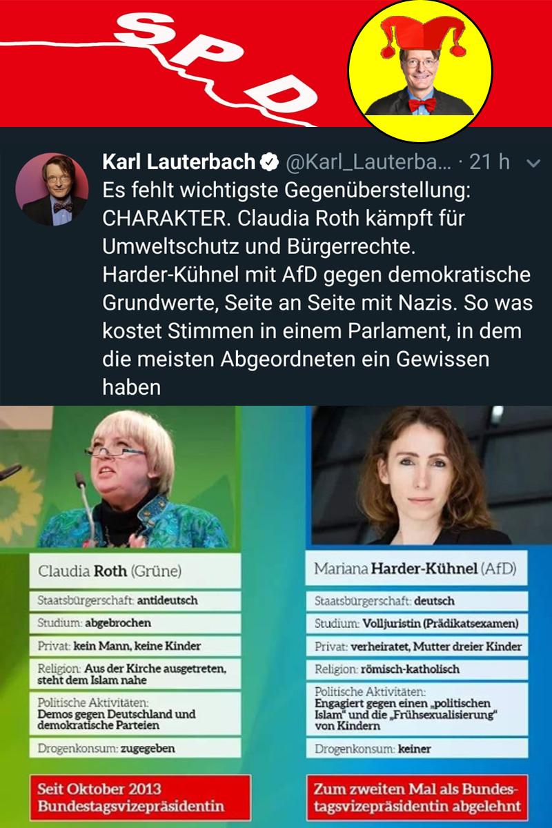 >> #SPD #Lauterbach haut so richtig einen raus | Voll auf der Linie der #Spezialdemokraten von den #NadelstreifenSozis _  Vergleich Claudia #Roth, #Unkraut #Grüne, mit der zweimal im #Bundestag als #Bundestagsvizepräsidentin nicht gewählten Rechtsanwältin Frau #Harder-#Kühnel, #AfD, fällt in Sachen Bildung und Bürgerlichkeit eindeutig für die AfD-Dame aus.  Herr Lauterbach ist der Meinung, dass Claudia Roth aber wegen ihres CHARAKTERS Frau Harder-Kühnel haushoch überlegen ist.  Der #Frechsprech wird den Sozis noch vergehen. Nicht nur wegen ihrer internationalistischen #Migrationspolitik und der erbärmlich widerwärtigen Position zu #Abtreibungen. #SPDversenken #SPDistPleite #SpdProjektVierKommaNeunProzent #Date:12.2018#