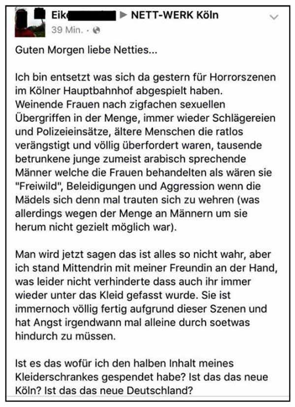 Gutmensch auf der Erkenntnis-Schiene nach Köln Silvester 2015 #Date:01.2016#