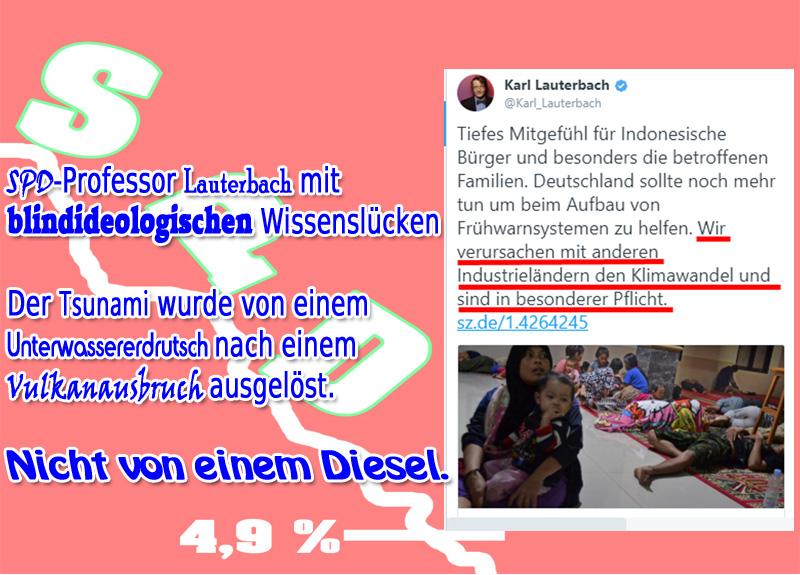 >> SPD-Professor mit Wissenslücken: Wie der Diesel einen Tsunami auslöste_#spd  #lauterbach  #indonesien  #klima #vulkan  #tsunami #idelogisch #diesel #Date:12.2018#