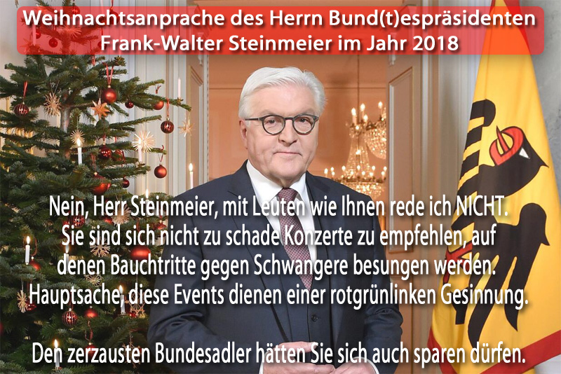 Weihnachtsansprache des Bund(t)espräsidenten _  #weihnachtsansprache  #steinmeier  #bundespräsident  #buntespräsident #MiteinanderReden #Date:12.2018#