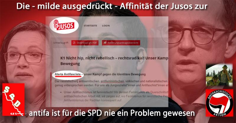 Bild zum Thema Für die #SPD nie ein Problem: #Jusos und #antifa_  Hier ein Antrag auf dem #Bundeskongress 2018 der #Jungsozialisten mit dem #gewaltaufrufenden #Kampfgeheul der #Antifanten 'Alerta Antifacista'.  #linksfaschismus #stalinismus #meinungsunterdrückung