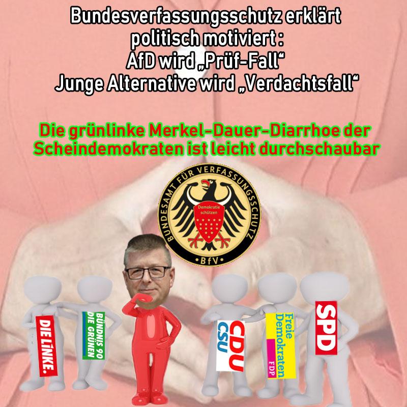 """Sie versuchen es tatsächlich wieder auf die bekannte Weise!  Die AfD wird zum """"Prüf-Fall"""" erklärt, weil Argumente und Tatsachen fehlen, um eine Beobachtung durch den Verfassungsschutz zu ermöglichen.  So leicht durchschaubar!  So offensichtlich die widerliche Hetze der scheindemokratischen Altparteien beim Ausleben der grünlinken Merkel-Dauer-Diarrhoe.  Ihr werdet es NICHT schaffen.  Denn Lügen haben kurze Beine und die Bürger sind nicht im Mindesten so dumm, wie die Altparteien glauben, Ihnen ein X für ein U vormachen zu können.  Was für eine hässliche Fratze der Politik gegen das Volk.  #afd  #altparteien  #bundesverfassungsschutz #prüffall   #Date:01.2019#"""