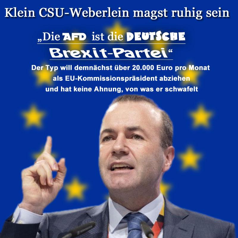 """Der Bayern-Bub Manfred #Weber, #CSU, möchte hinaus in die Welt und Herrn Jean-Claude """"hochprozentiger Ischias"""" #Juncker als #EU- #Kommissionspräsident  beerben_   Da gilt es kräftig auf die Pauke zu hauen und die #AfD an die Wand zu nageln. Ihr Problem, werter Herr Weber: Sie kennen weder die europapolitischen Ziele der AfD, noch die dahinter stehende Politik.  Aber das ist egal. So oder so werden Sie die EU nicht weiter zu einem #Zentralstaat entwickeln können. Vergessen Sie es gleich und versuchen Sie lieber, die Exit-Stimmung unter Kontrolle zu bringen. Mit ihrer total maroden EU im Rücken  müssen Sie den Bürger, und insbesondere den deutschen Bürger, nicht für so saudumm verkaufen, dass Sie ihm Glauben machen, die #Merkel- #Macron - Schiene könne so weiter laufen wie bisher. Sie sind ein #Traumtänzer. Und scharf auf einen Super-Job. Bitteschön, aber nicht auf unsere und Deutschlands Kosten.  Weitere Informationen zu Ihrer Meinungsbildung finden Sie hier:   https://www.bild.de/politik/ausland/politik-ausland/europa-politiker-manfred-weber-afd-ist-die-deutsche-brexit-partei-59518922.bild.html #Date:01.2019#"""