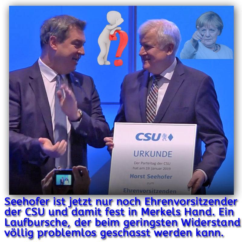 >>  Führungswechsel bei der CSU _  Auf dem #Sonderparteitag der #CSU in München wurde #Ministerpräsident #Söder mit 87,42% der Stimmen zum Vorsitzenden der CSU gewählt.  Damit ist die Ära #Seehofer in der CSU beendet. Ein Ende dürfte damit auch der eigenwillige Ansatz von Seehofer als #Bundesinnenminister finden. Er ist jetzt fest in der Hand von #Merkel, die ihn nun viel leichter ohne unionsinterne Rücksichtnahme kontrollieren, lenken oder entfernen kann.  Vermutlich ein weiteres Puzzleteil zu einem #Deutschland, das kein echter Bürger dieses Landes will.  Weitere Informationen zu Ihrer Meinungsbildung finden Sie hier: https://www.br.de/nachrichten/bayern/soeder-neuer-csu-chef-seehofer-jetzt-ehrenvorsitzender,RFaWD4f #Date:01.2019#