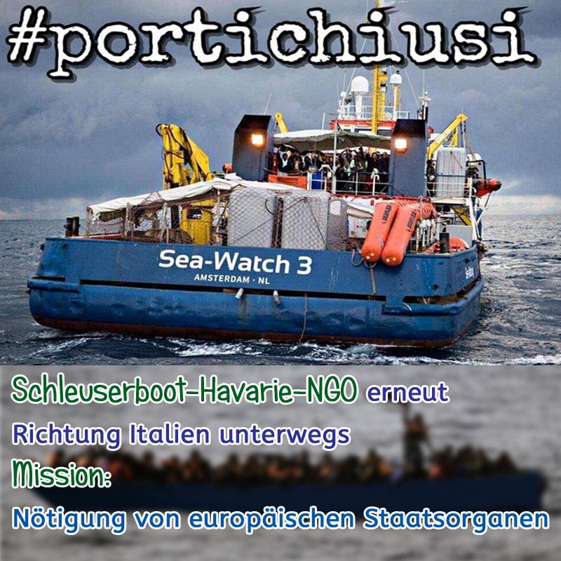 Nötigung von europäischen Staatsorganen_ #mittelmeer  #schleuser  #schlepper  #HandInHandNGO  #NGO  #Schleuserboothavarie  #italien  #nötigung  #eu #Date:01.2019#