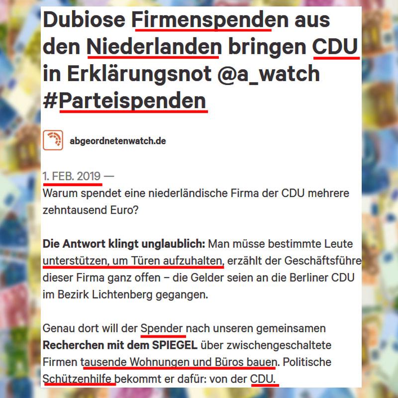 Bild zum Thema Bei den Altparteien sind zweifelhafte Spenden nur Peanuts_ #cdu #parteispenden #niederlande #lobbyismus