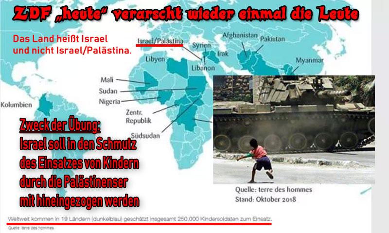 Bild zum Thema >> ZDF 'heute' verarscht wieder einmal die Leute _   Bei einem Bericht über #Kindersoldaten in der #ZDF -Sendung #heute wurde eine Karte eingeblendet, die als Einsatzort für Kindersoldaten auch das 'Land' Israel/Palästina anzeigt.  Erstens gibt es ein solchen Land nicht. Der Staat heisst #Israel und sonst gar nichts.   Und zweitens gibt es in Israel mit Sicherheit KEINE Kindersoldaten.   Mit besonderer Begeisterung werden jedoch Kinder und Jugendliche von den #Palästinensern eingesetzt. Das reicht von der Teilnahme an der Intifada bis hin zum Einsatz als Selbstmord-Attentäter.  Wieder einmal auf die Schnauze geflogen, #LügenPack