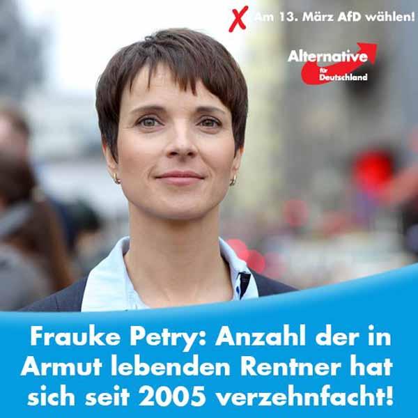 Frauke Petry: Anzahl der in Armut lebenden Rentner hat sich seit 2005 verzehnfacht. #Date:12.2015#