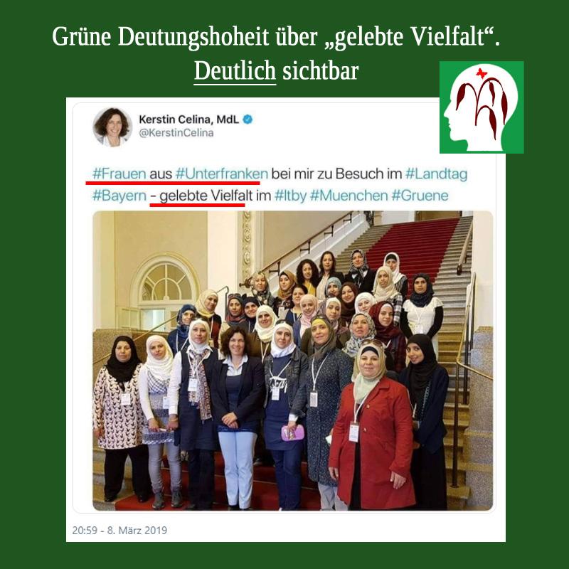 Bild zum Thema #Grüne #Landtagsabgeordnete definiert Vielfalt neu _  Die Landtagsabgeordnete von B'90/Grüne ????, Kerstin #Celina, hat Frauen aus #Unterfranken in den Landtag #Bayern eingeladen und attestierte der Besuchergruppe 'gelebte Vielfalt'. Sieht doch ein Blinder, dass die grüne Schiel-Tante recht hat. Oder vielleicht nicht, ihr konservatives Pack?