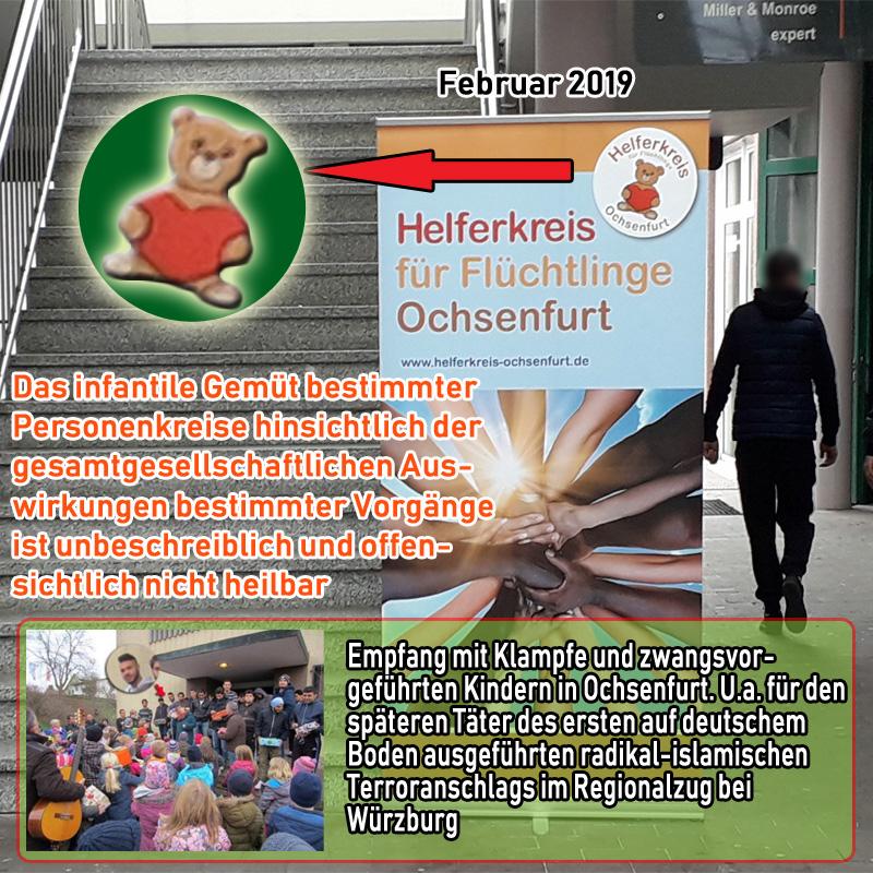 Bild zum Thema Das infantile Gemüt von sogenannten #Flüchtlingshelfern zeigt sich an diesem Aufsteller in #Ochsenfurt._  Dort wirbt man noch immer mit dem sprichwörtlichen 'Teddybären' aus den längst vergangenen #grünlinken #Welcome-Orgien des Jahres 2015.  Vollkommen unbeeindruckt von den vorhergesagten und inzwischen eingetretenen massiven Auswirkungen auf unsere Gesellschaft wird hier weiterhin ein Trugbild aufrechterhalten, das an frecher Dreistigkeit nicht zu überbieten ist. Eine ideologisch gesteuerte #Dauerprovokation.  Man richtet es sich auf Kosten der Gesellschaft so ein, wie es das eigene, aus welchen Gründen auch immer, pathologisch verzerrte Helfersyndrom erforderlich macht.   Nicht nur, dass man sich als #Gutmensch als hypermoralische Speerspitze sieht. Nein, völlig schamlos wird auf der eigenen Deutungshoheit über gesellschaftliche Vorgänge bestanden.  Ein etwas dezenteres Auftreten scheint angebracht. Besonders in Ochsenfurt, das unserem Land immerhin den ersten radikal-islamischen Terroranschlag auf deutschem Boden bescherte.