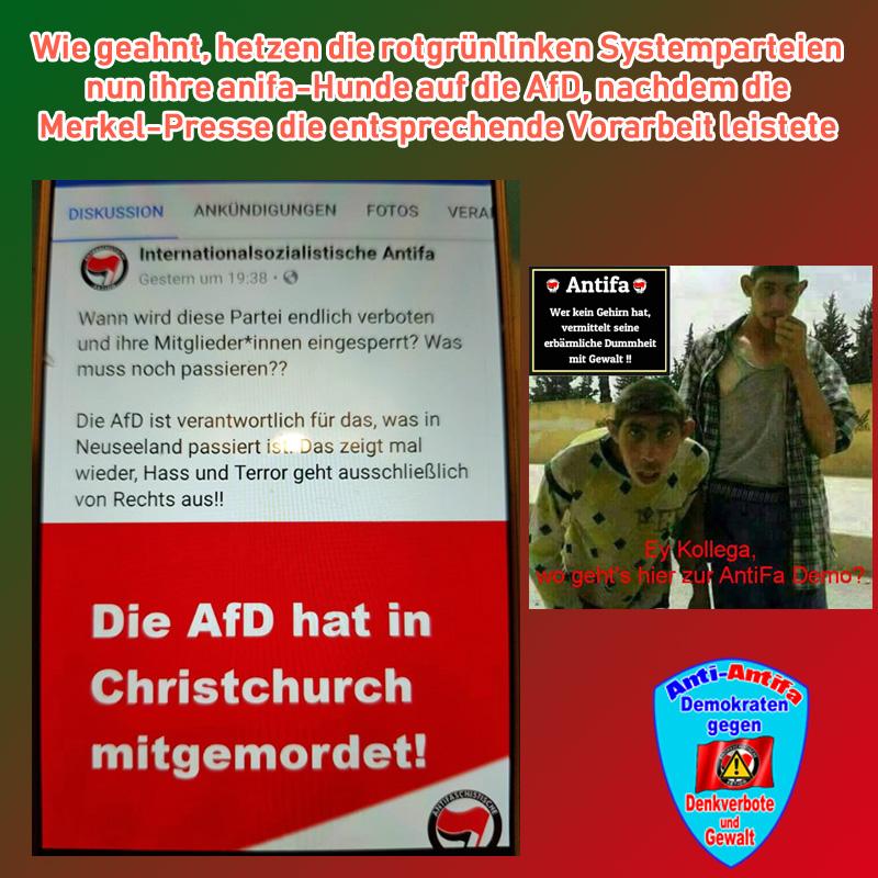 Bild zum Thema Soll mir keiner sagen, dass die Altparteien (CSU, CDU, SPD, Grüne, Linke, FDP) nicht mit klammheimlicher Freude diesen von der #DrecksAntifa abgesonderten Schmutz feiern. #christchurch