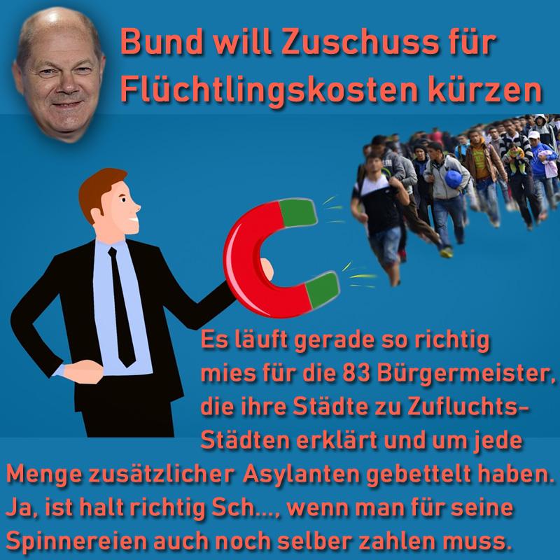 Bundesregierung: Scholz will Zuschuss zu Flüchtlingskosten drastisch kürzen _   Olaf #Scholz, #SPD- #Bundesfinanzminister im toxischen #Merkel-Gruselkabinett, will den Zuschuss des Bundes für die Flüchtlingskosten in Ländern und Kommunen drastisch kürzen.  Oweh, oweh, da graust es den #grünlinken #Bestmenschen. Und insbesondere in den 83 deutschen Kommunen, deren Bürgermeister oder Oberbürgermeister ihre Städte zu #Zufluchstsstädten erklärt und geradezu um massige Zuweisung von Asylanten gebettelt haben.  Aber, Freunde, wir finden, dass ist schon gut so, dass diejenigen, die bestellen, auch die Zeche bezahlen. Es ist so schön bequem, sich als #Gutmensch zu gerieren und alle anderen dafür blechen zu lassen.   Das typisch #rotgrünlinke Lebensgefühl halt. Sich selber einen schlanken Fuss machen, aber sich als die moralische Speerspitze der Gesellschaft von Schuldkomplexen und anderen psychopathologischen Zwängen freikaufen.   Weitere Informationen zu Ihrer Meinungsbildung finden Sie hier:    https://www.rundschau-online.de/politik/bund-will-zuschuss-fuer-fluechtlingskosten-kuerzen-32238978?originalReferrer=https://t.co/WDDDS5tyRG #Date:03.2019#