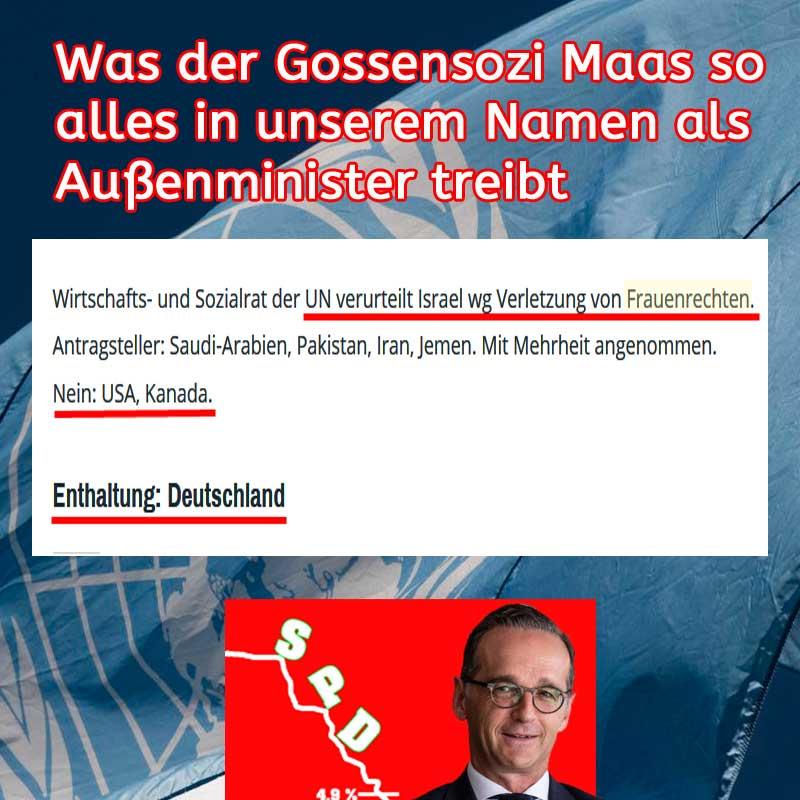UN verurteilt Israel. SPD Maas juckt es nicht. #Date:07.2019#