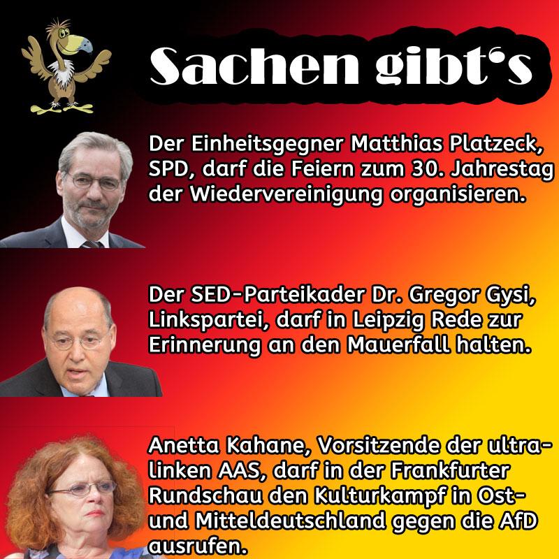 Bild zum Thema Platzeck, Gysi und Kahane: DDR-Altlasten bei 30 Jahre Mauerfall ganz vorne mit dabei.