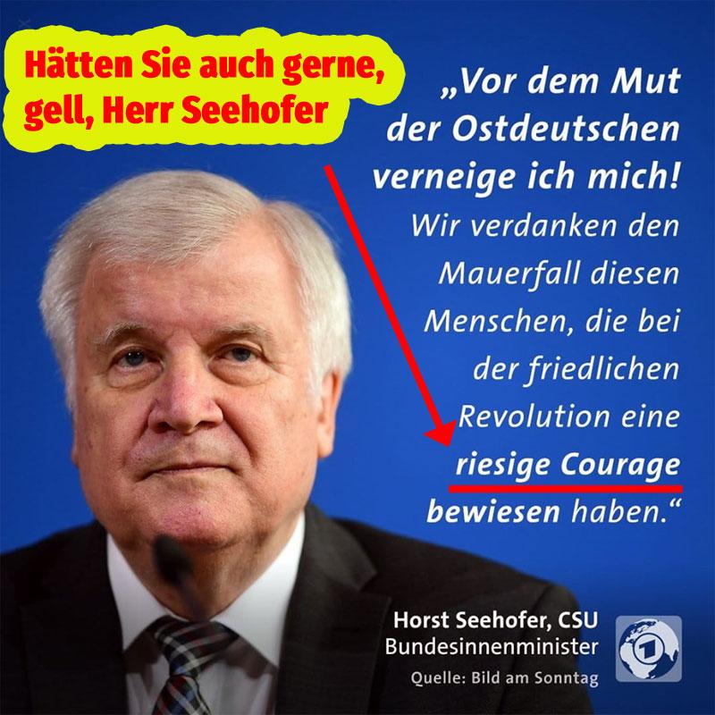 Bild zum Thema Bundesinnenminister Horst 'drehhofer' Seehofer, CSU, bewundert bei anderen Leuten die Zivilcourage
