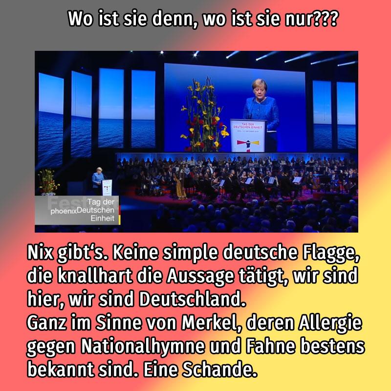 Keine Deutschland-Fahne bei der zentralen Feier zur Deutschen Einheit in Kiel #Date:10.2019#