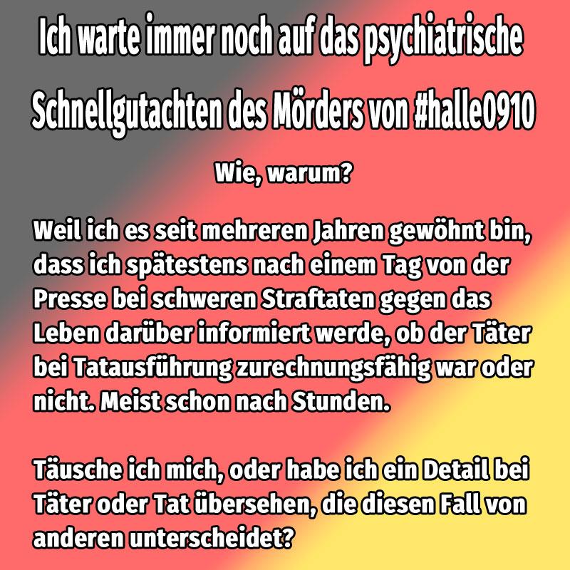 #halle0910  Wo bleibt das psychiatrische Schnellgutachten? #Date:10.2019#