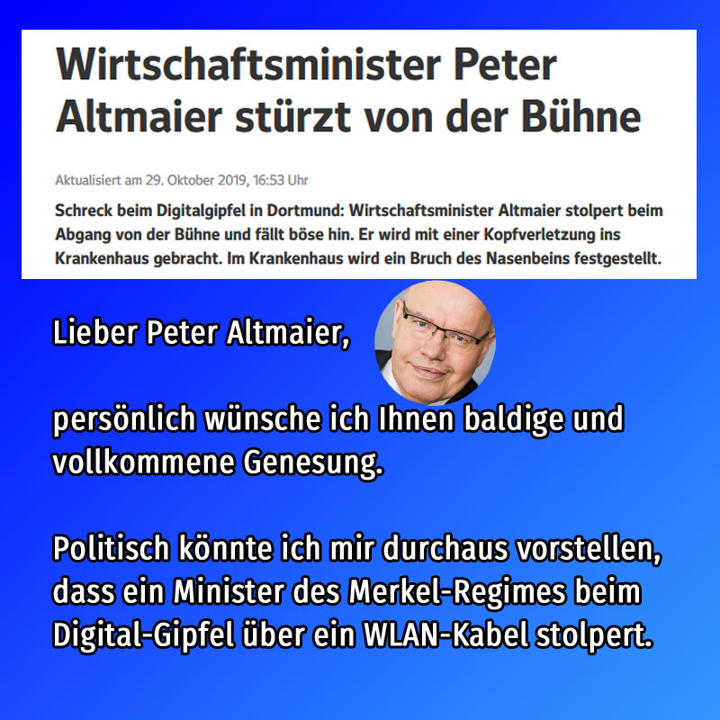 Bild zum Thema #altmaier  #cdu  #digitalgipfel #stagediving  #sturz #wlankabel