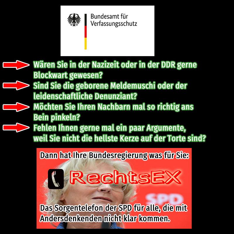 Bild zum Thema RechtsEX, das neue Sorgentelefon des Verfassungsschutzes für Meldemuschis