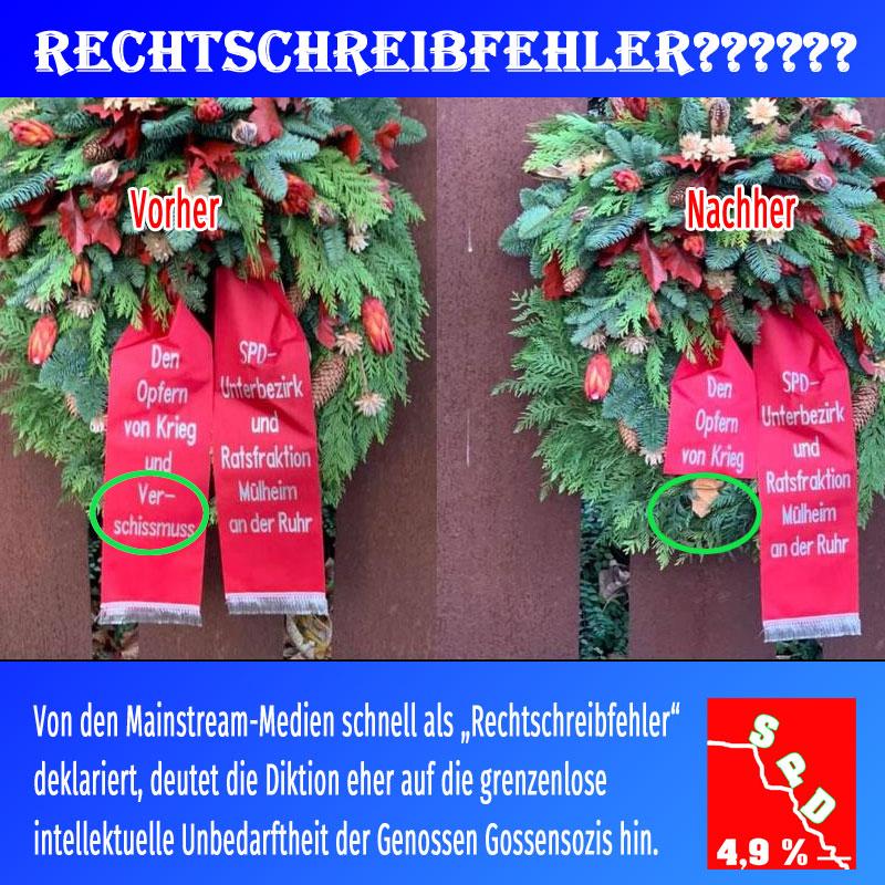 Bild zum Thema Kranz der SPD zum Volkstrauertag 2019 mit dem Wort Verschissmuss, statt Faschismus