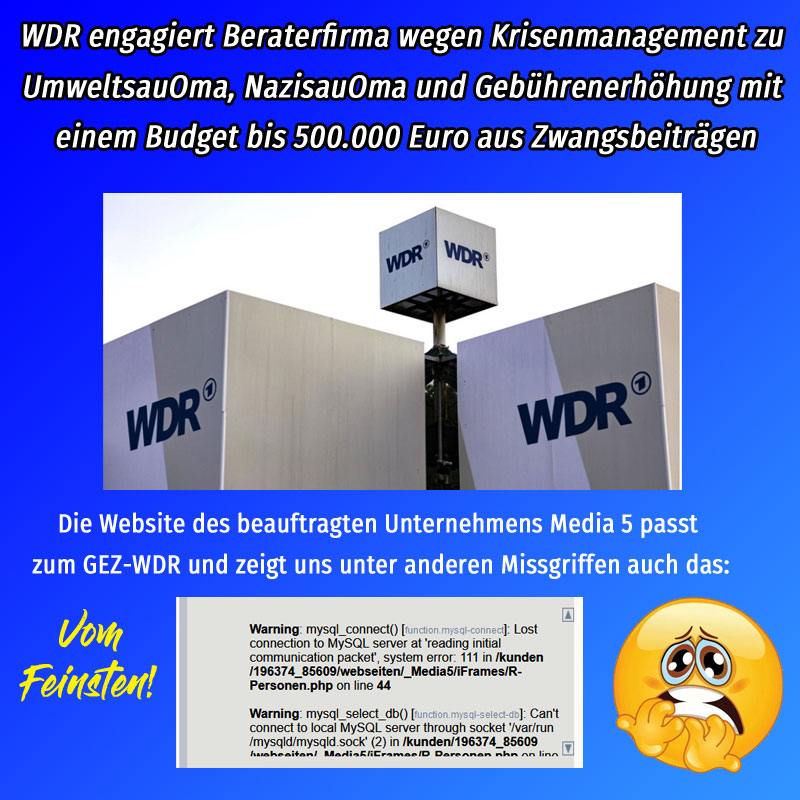 #wdr #örr #gez #zwangsbeitrag #gebührenerhöhung #UmweltsauOma #NazisauOma #buhrow #hollek  Weg mit dem Zwangszeug:  https://youtu.be/_-q8UCFk_J8  ? https://hallo-meinung.de/gebuehrenaktion ? https://rundfunk-frei.de/index.html #Date:01.2020#