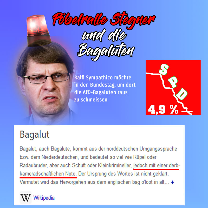 Ralf #Stegner  ausgewiesener #spd-#Gossensozi vom ganz #linken Rand möchte gerne in den #Bundestag. Zur Zeit ist er Fraktionsvorsitzender im #Landtag Schleswig-Holstein #SH. Dort will er die AfD-Bagaluten rausschmeissen #Date:07.2020#
