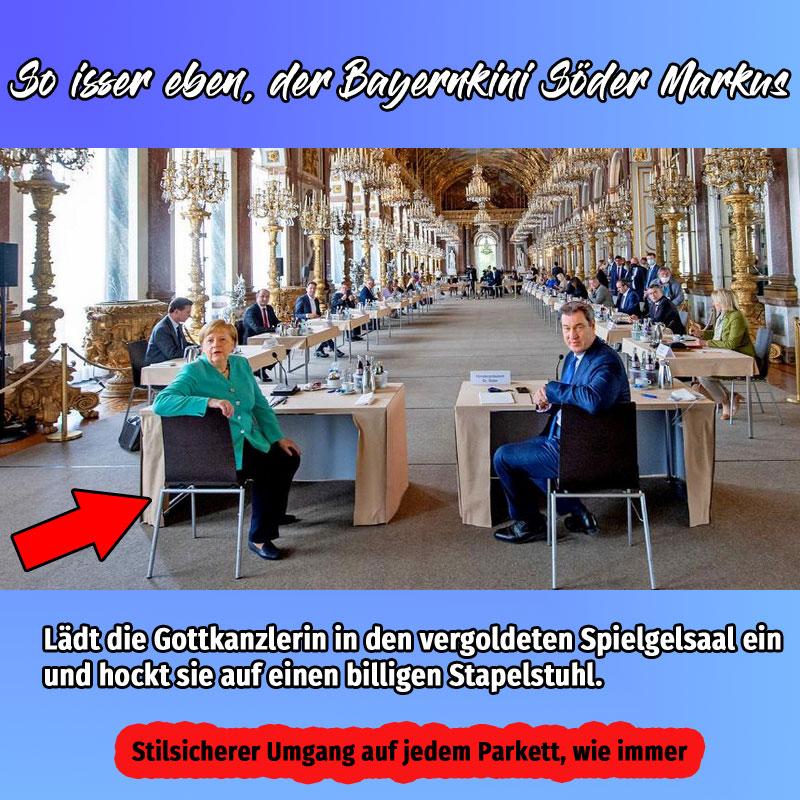 Bild zum Thema Gottkanzlerin Merkel und Bayernkini Söder in Prunk und Pracht - das macht Mut