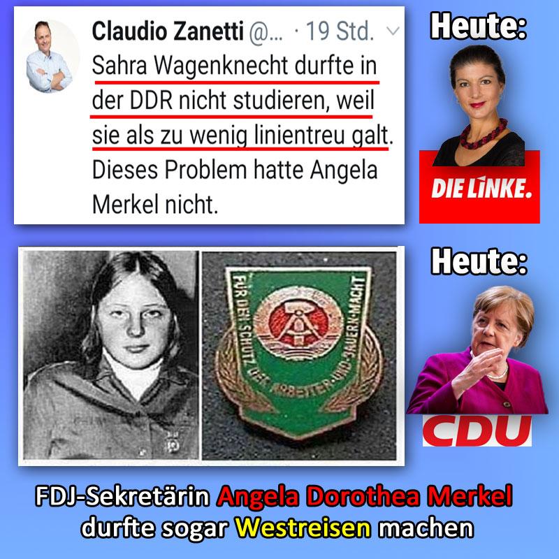 Bild zum Thema Gottkanzlerin Merkel von der CDU war in der DDR regimetreuer als Sahra Wagenknecht von der Linkspartei