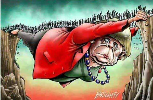 Brücke ins Abendland. Bild zeigt Merkel als Brücke für sogenannten Flüchtlinge ins gelobte Germoney. #Date:01.2016#