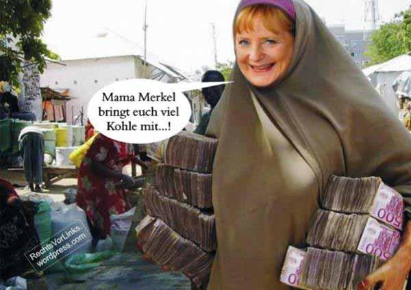Bundeskanzlerin Merkel trägt Riesen-Geld-Bündel in Burka zu den Flutlingen. #Date:12.2015#