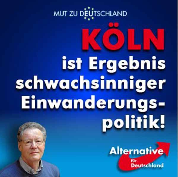 Die Vorgänge von Köln zu Silvester 2015 sind das Ergebnis einer schwachsinnigen Einwanderungspolitik. #Date:03.2016#