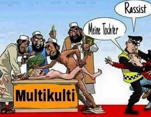 In Zusammenhang mit der Multikulti-Ideologie überschreiten  Buntparteien und Buntmenschen über jede moralische Grenze, um ihrer toxischen Ideologie Recht zu geben. #Date:03.2016#