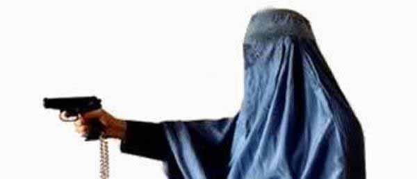 Burka Gestalt mit Pistole #Date:01.2016#