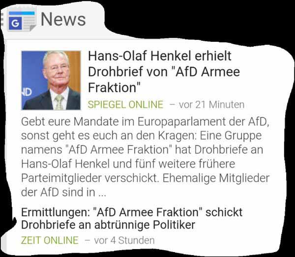 AfD Armee Fraktion schickt Drohbriefe an abtrünnige Politiker. Vermutlich False-Flag Aktion der Antifa.  #Date:03.2016#