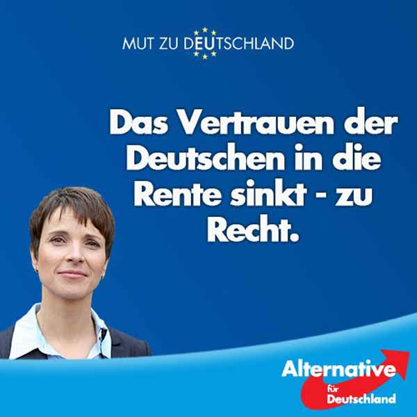 AfD Das Vertrauen der Deutschen in die Rente sinkt – zu Recht. Zunehmende Altersarmut als Folge der verfehlten Familienpolitik #Date:03.2016#