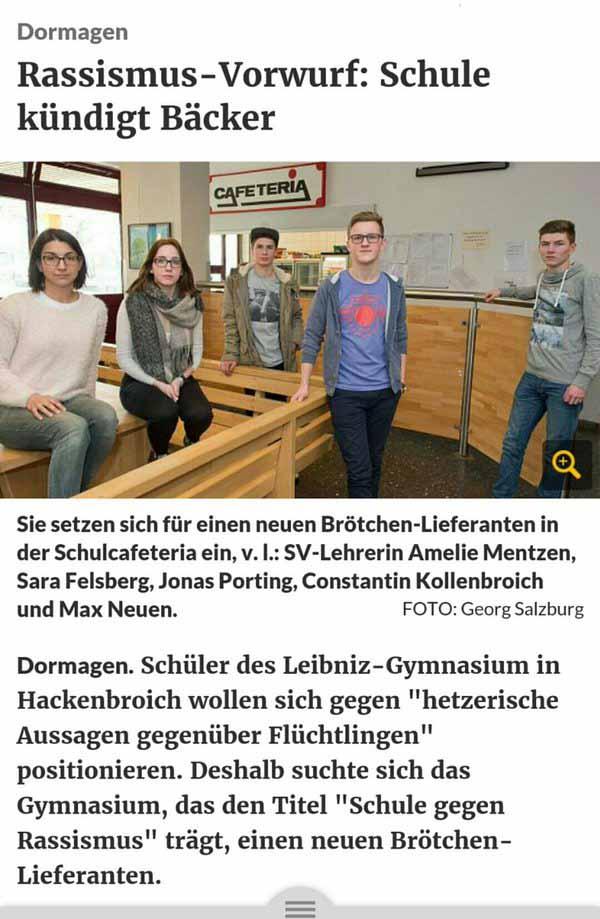 Jugendliche als Gesinnungspolizei  werden zum Denunziantentum erzogen und sorgen dafür, dass Bäcker Schulbelieferung des Leibniz-Gymnasiums in Hackenbroich verliert. #Date:03.2016#