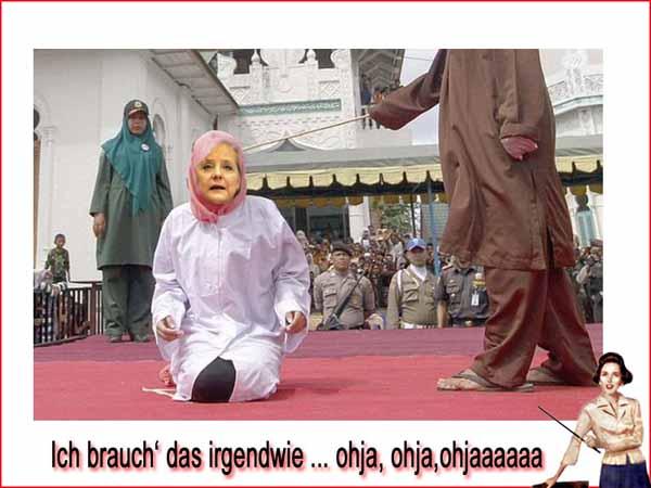Öffentliche Auspeitschung bei den neuen Geschwistern von Merkel. Vielleicht braucht sie ja diese islamischen Mittelalter-Gepflogenheiten. #Date:#