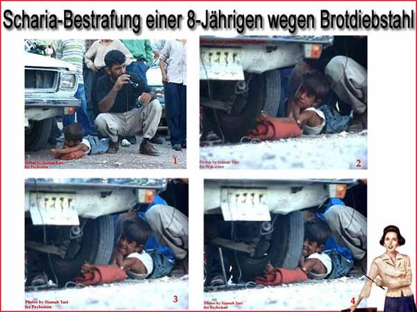 Islamisches Scharia-Recht vollstreckt an einer 8-Jährigen wegen Brotdiebstahl. Man sah freundlicherweise davon ab, dem Mädchen die Hand abzuhacken und begnügte sich damit, ein Auto über den diebischen Arm fahren zu lassen.  #Date:12.2015#
