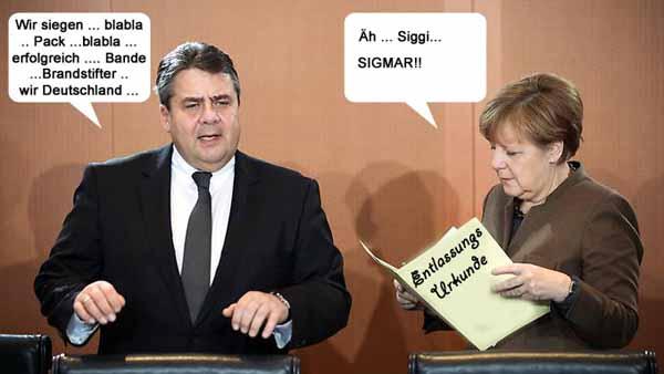 Merkel und Gabriel mit der Entlassungsurkunde vom Bundespräsidenten Gauck, genannt Gauckler. Ein von vielen Bürgern innigst gehegter Wunsch, der hoffentlich bald wahr wird. #Date:03.2016#