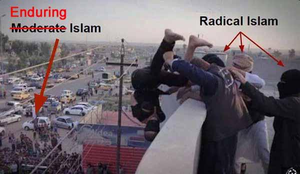 Radikale Islamisten stürzen einen Verurteilten vom Hochhaus und erfüllen damit ein Scharia-Urteil. Keinen Deut besser sind die sogenannten moderaten Moslems, die die grausige Szene beobachten. #Date:#