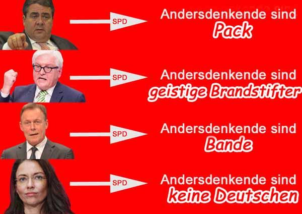 Die sprachlichen Entgleisungen der SPD wie Pack, Band, Brandstifter, keine Deutschen gegenüber politisch Andersdenkenden eskalierte im Rahmen des Asylchaos extrem. Die Rechnung hierfür kam prompt bei den Landtagswahlen im März 2016 #Date:#