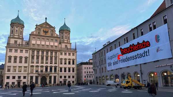 Augsburg – heuchlerische Friedensstadt bekämpft AfD mit Naziparolen und feinem Gedankengut wie ICH FICK EURE MÜTTER oder  Fotze für Frauke Petry. #Date:02.2016#