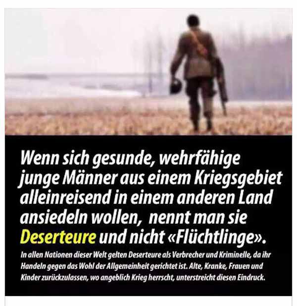Fahnenflüchtlinge sind alleinreisende Männer, die sich den Problemen in ihrem Heimatland durch Flucht nach Deutschland entziehen und somit Fahnenflucht gegenüber ihrer Heimat und gleichzeitig eine Invasion Deutschlands durchführen #Date:01.2016#