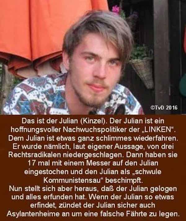 Julian Kinzel, Nachwuchs-LINKEN-Politiker erfand einen Überfall durch Rechte und fiel prompt auf die Schnauze #Date:01.2016#